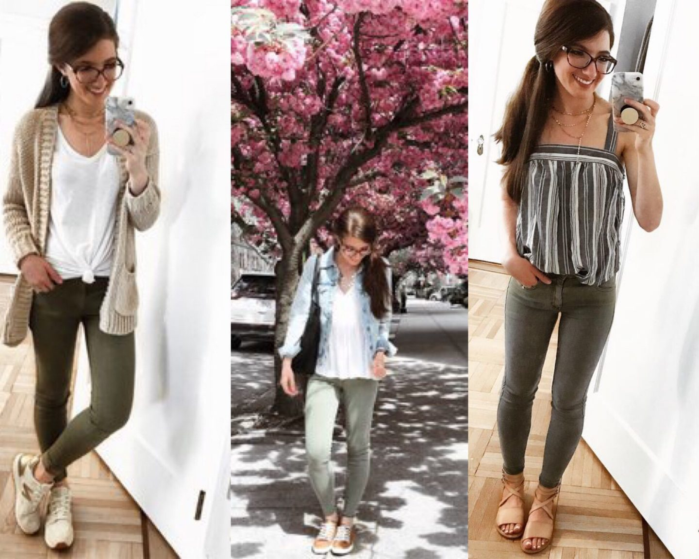 How to wear green skinnies